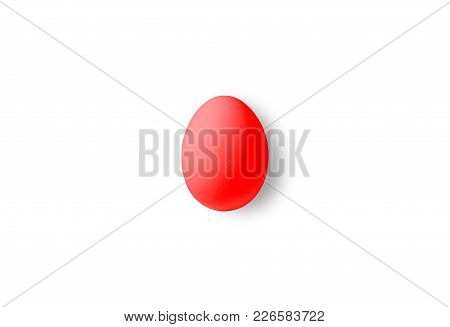 One Red Isolated Egg On A White Background