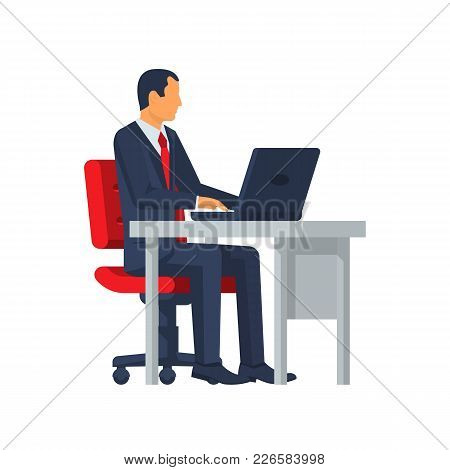 Businessman Sitting At Desk Working On Laptop. Vector Illustration Flat Design. Isolated On White Ba