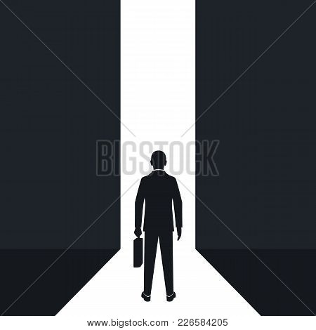 Entrance Concept. Way Forward Silhouette Businessman In Suit Stands In Front Of Door In Wall. Look I