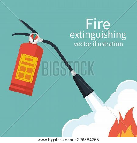 Fire Protection. Fire Safety. Fire Extinguisher Aimed At The Fire. Vector Illustration Flat Design.