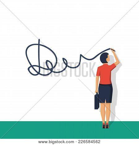 Businesswoman Puts Signature. Vector Illustration Flat Design. Modern Technology Business. Agree. Le