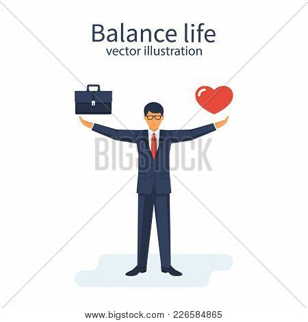 Balance Life And Work. Businessman Chooses Between Business Love And Home. Holding Heart And Briefca