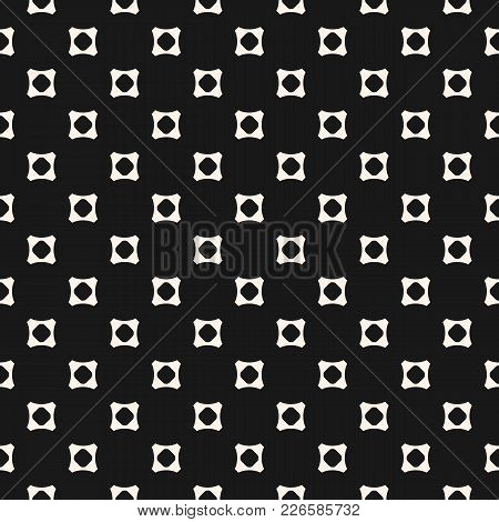 Simple Geometric Seamless Pattern. Vector Abstract Monochrome Background With Small Concave Perforat