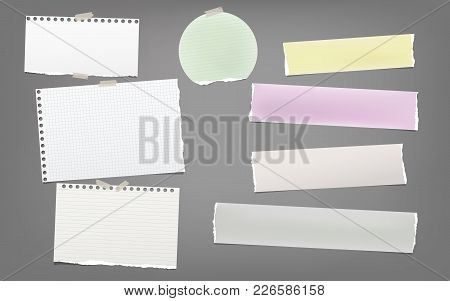 Torn Colorful And White Note, Notebook Paper Strips, Sheets For Text Stuck With Adhesive Tape On Dar