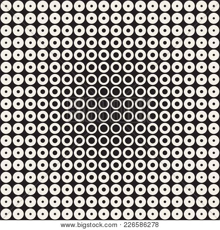 Halftone Circles Vector Seamless Pattern. Abstract Geometric Texture With Size Gradation Of Rings. G