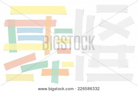 White And Colorful Adhesive, Sticky, Masking, Duct Tape, Paper Pieces For Text Are Isolated On White