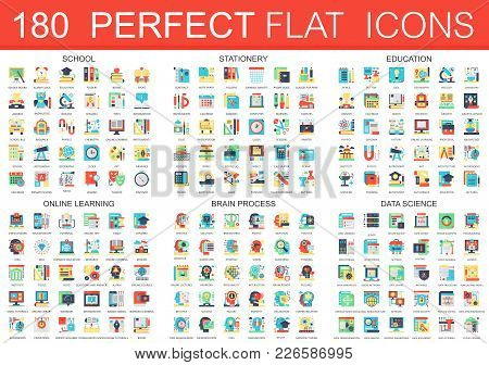 180 Vector Complex Flat Icons Concept Symbols Of School, Stationery, Education, Online Learning, Bra