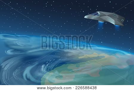 Vector Illustration Of Spaceship Flying Over Planet To Blue Star In Opened Galaxy Space. Earth View
