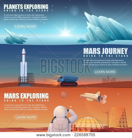 Set Of Different Banners Dedicated To Alien Planets, Mars Exploring, Space Flight, Space Exploration