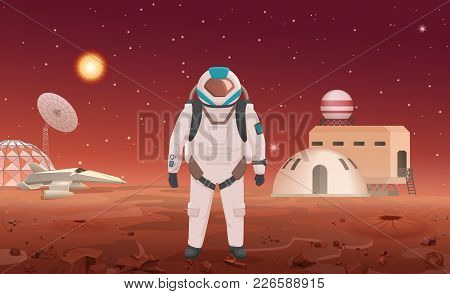 Vector Illustration Of Astronaut In Spacesuit Standing At Colony On Planet