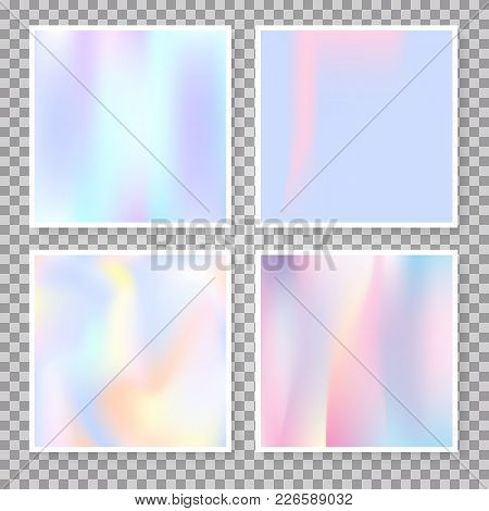 Holographic Foil Backgrounds Set. Futuristic Gradient Backdrop With Holographic Foil. 90s, 80s Retro