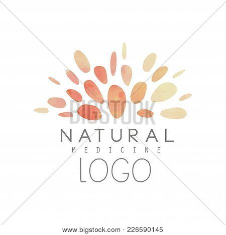 Creative Logo Design With Abstract Watercolor Pattern. Natural Or Alternative Medicine. Wellness Con