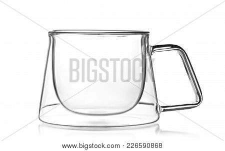 Empty Glass Cup For Tea Or Coffee Isolated On White