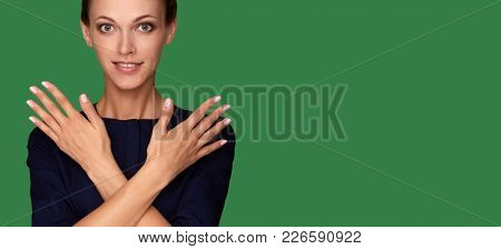 Beautiful Young Woman With Clean Perfect Skin And Nails
