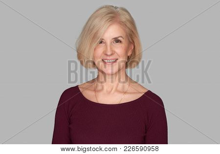 Portrait Of Old Beautiful Cheerful Woman Smiling