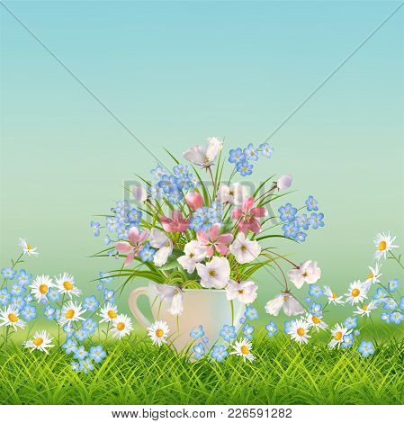 Vector Floral Landscape With Grass And Beautiful Bouquet In A Cup