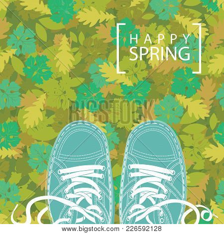 Spring Banner With The Words Happy Spring And Green Shoes On The Background Of Seamless Texture Of G