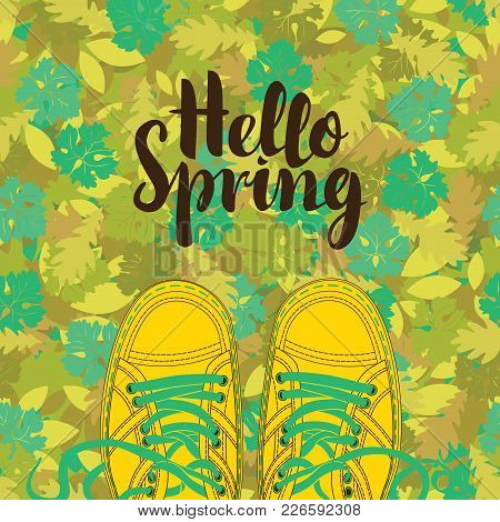 Spring Banner With The Words Happy Spring And Yellow Shoes On The Background Of Seamless Texture Of