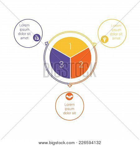 Template For Info Grapchics Diagram 3 Cyclic Processes, Step By Step, Colorful Circles In A Circle,