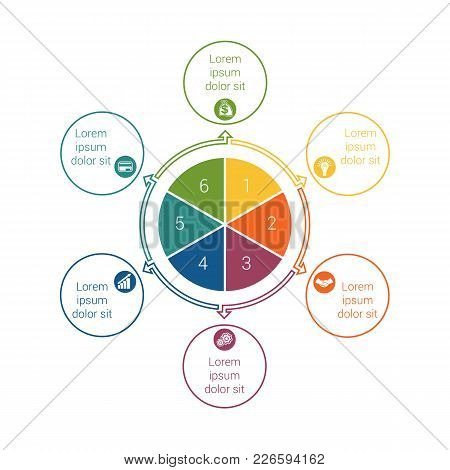 Template For Info Grapchics Diagram 6 Cyclic Processes, Step By Step, Colorful Circles In A Circle,