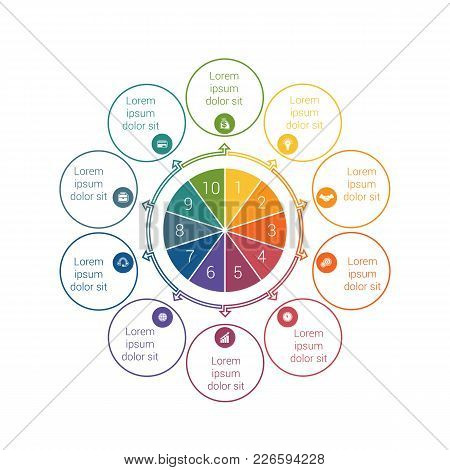 Template For Info Grapchics Diagram 10 Cyclic Processes, Step By Step, Colorful Circles In A Circle,