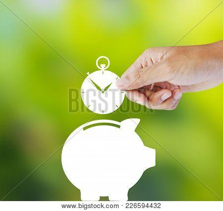 Clock And Piggy Bank, Time Saving Concept