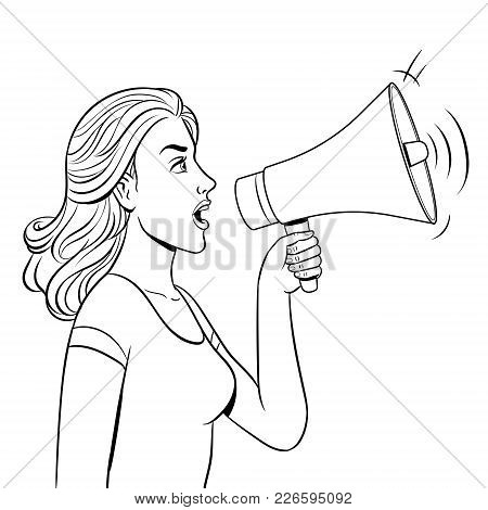Woman With Megaphone Coloring Vector Illustration. Medical Procedure. Isolated Image On White Backgr