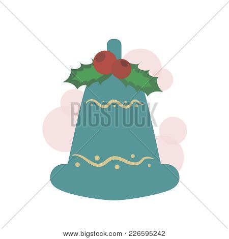 A Christmas Bell With Red Viburnum Berries And Leaves, Isolated On A White Background. Vintage Style