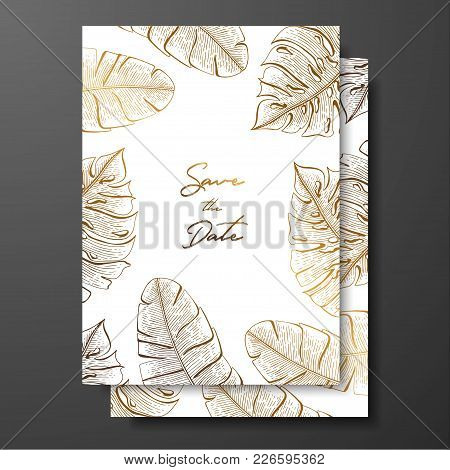 Gold Wedding Invitation With Tropical Leaves. Vector Elements For Design Template. Gold Tropical Lea