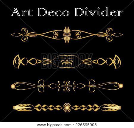 Set Of Vintage Typographic Divider In Gold Art Deco Design, Luxurious Decorative Separator Elements