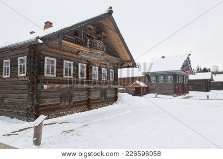 Semenkovo, Vologda Region, Russia - February 11, 2018: House Of The Khrapovs In The Museum Of Wooden