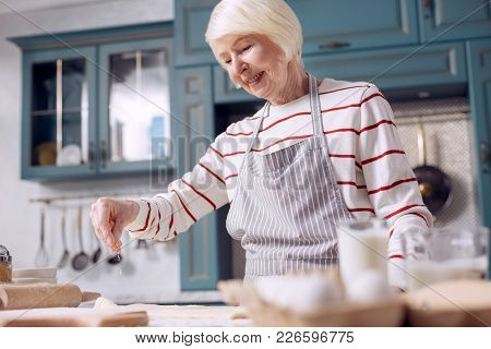 Pastry Chef. Pleasant Upbeat Senior Woman In An Apron Making Dough In The Kitchen And Sprinkling It