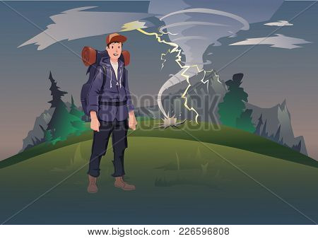 Bad Weather In The Mountains. Young Man With Backpack On The Background Of The Mountain Landscape Wi