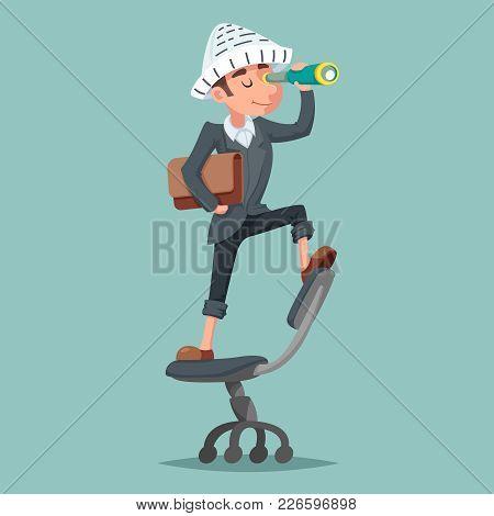 Adventurer Hat Newspaper Businessman Mascot Pirate Spyglass Character Cartoon Design Vector Illustra
