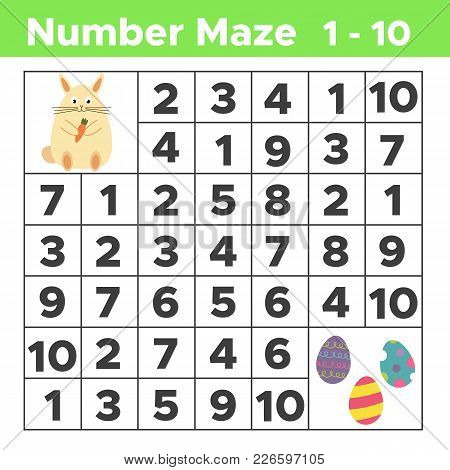 Spring Number Maze, Math Puzzle Game For Children. Help Bunny Find Easter Eggs. Counting From One To