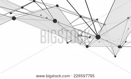 Concept Of Network, Internet Communication. The Black Points Are Connected By Lines And Blue Transpa