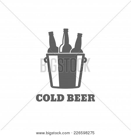 Beer Bottle Logo. Cold Beer Icon On White Background 8 Eps