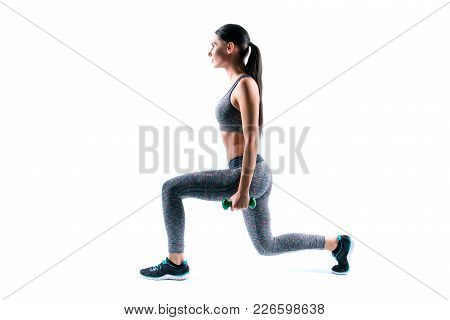 Profile Side View Photo Of Slender Beautiful Young Sportive Attractive Happy Woman With Ponytail, Sh