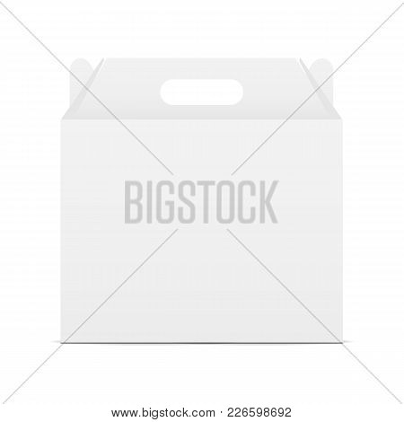 Paper carton box with handle - front view. Present your design on this sample. Vector illustration
