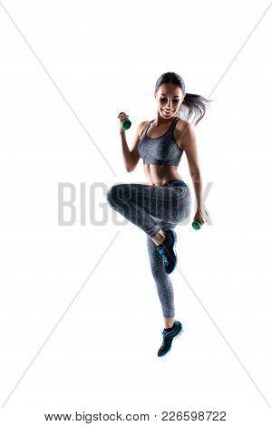 Healthy Body Is Your Treasure! Vertical Full-size Full-length Portrait Of Joyful Happy Beautiful Cha