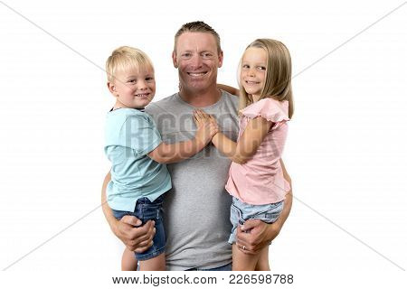 Young Happy And Attractive American Man Holding His Two Children, A 7 Years Old Lovely Beautiful Dau