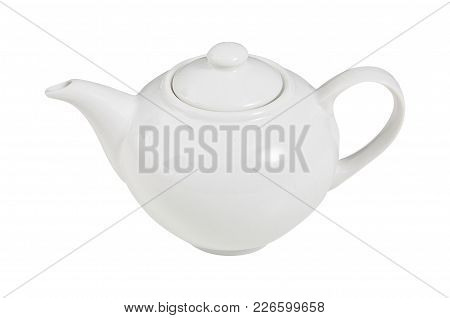 Kettle. White. View From Above. For Making Tea.  For Your Design.