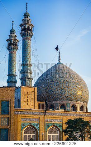 Qom, Iran - October 16, 2016: Dome And Minarets Of Shrine Of Fatima Masumeh In Qom - Shia Sacred Cit