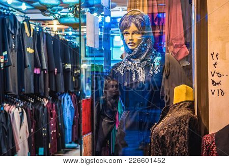 Kashan, Iran - October 17, 2016: Women Clothing For Sale On The Bazaar In Kashan City