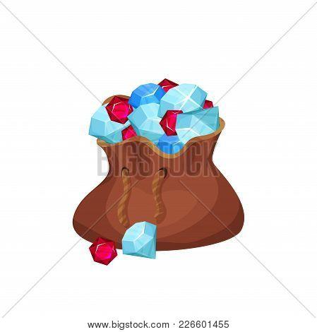 Large Brown Bag Full Of Valuable Stones Diamonds, Sapphires And Rubies . Cartoon Gemstones In Flat S
