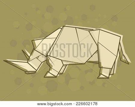 Vector Abstract Simple Illustration Drawing Outline Rhinoceros.
