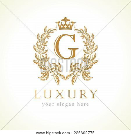 Luxury G Letter And Crown Monogram Logo. Laurel Elegant Beautiful Round Identity With Crown And Wrea