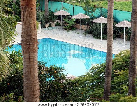 A Little Paradise. Top View Of The Courtyard Blooming Garden Of The Resort Hotel With A Small Pool W