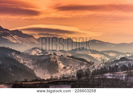 Beautiful Winter Landscape In The Mountains With Lenticular Clouds And Snow In The Sunset Light, Pes