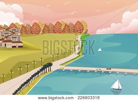 Sea Side View From Top With Grass Forest And Big House On One Side And Long Bridge Road Vector
